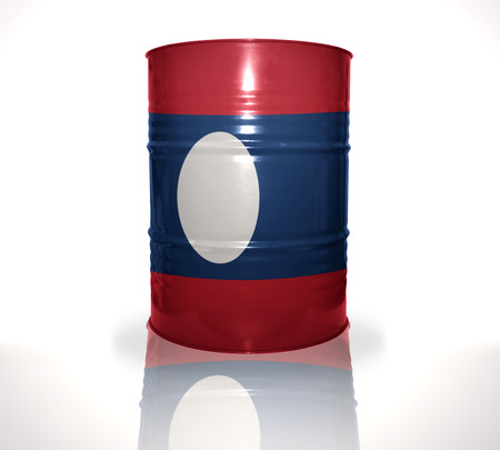 fuel provider: barrel with laotian flag on the white background