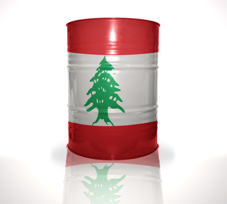 heavy fuel: barrel with lebanese flag on the white background