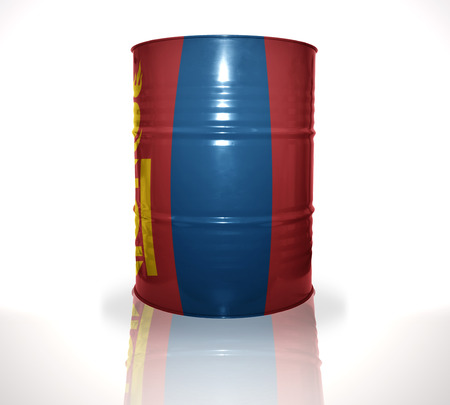 heavy fuel: barrel with mongolian flag on the white background Stock Photo