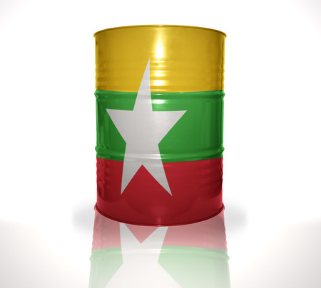 fuel provider: barrel with myanmar flag on the white background
