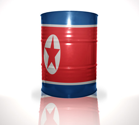heavy fuel: barrel with north korea flag on the white background Stock Photo