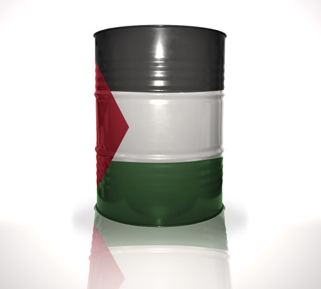 heavy fuel: barrel with palestinian flag on the white background