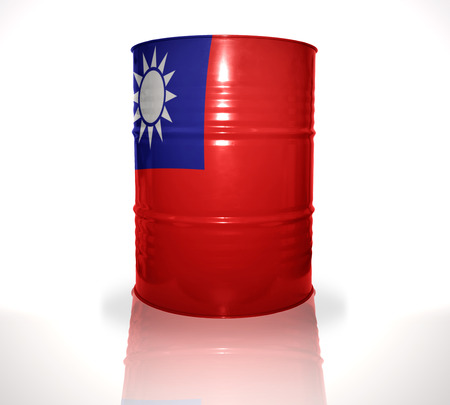 fuel provider: barrel with taiwan flag on the white background