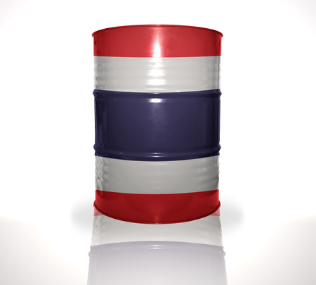 fuel provider: barrel with thai flag on the white background Stock Photo