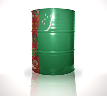 heavy fuel: barrel with turkmen flag on the white background