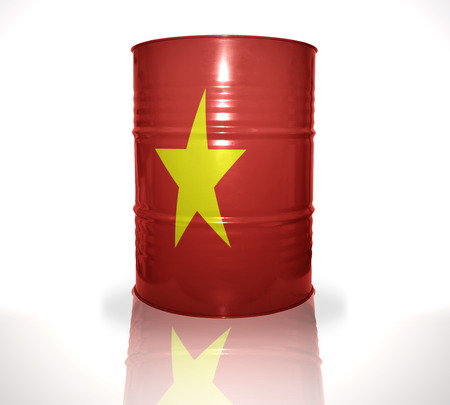 heavy fuel: barrel with vietnamese flag on the white background Stock Photo