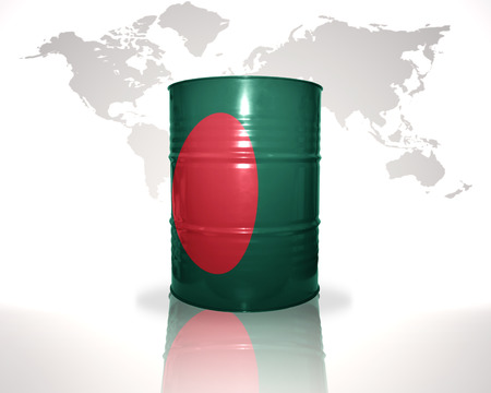 heavy fuel: barrel with bangladeshi flag on the world map background