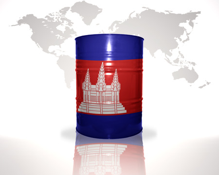 fuel provider: barrel with cambodian flag on the world map background