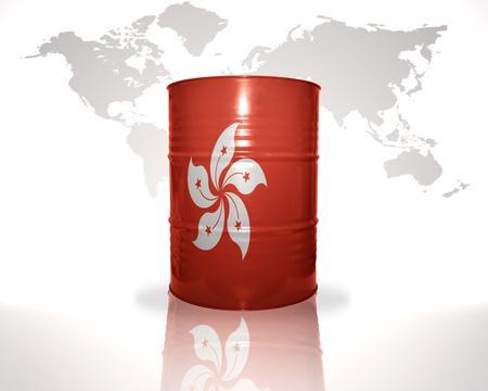 fuel provider: barrel with hong kong flag on the world map background Stock Photo