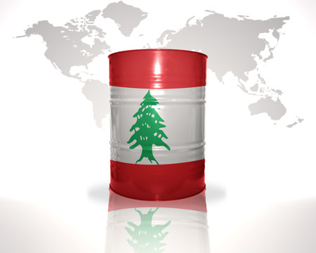 fuel provider: barrel with lebanese flag on the world map background