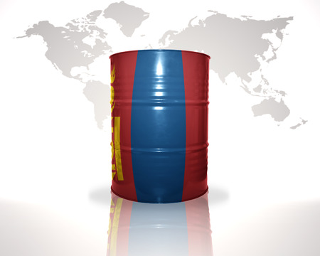 fuel provider: barrel with mongolian flag on the world map background