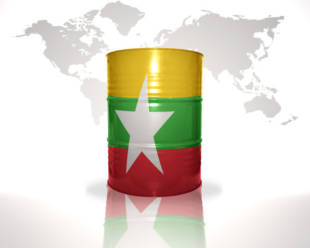 fuel provider: barrel with myanmar flag on the world map background