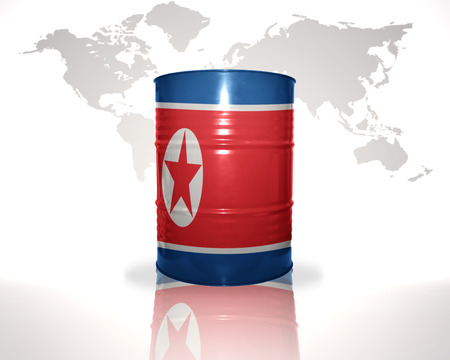 heavy fuel: barrel with north korea flag on the world map background Stock Photo