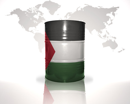 fuel provider: barrel with palestinian flag on the world map background Stock Photo