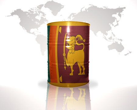 fuel provider: barrel with sri lanka flag on the world map background