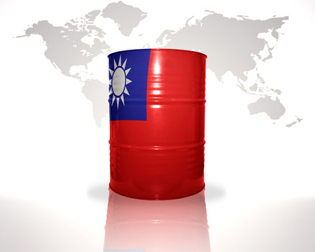fuel provider: barrel with taiwan flag on the world map background