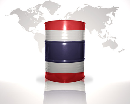fuel provider: barrel with thai flag on the world map background