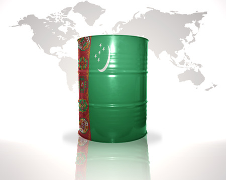 fuel provider: barrel with turkmen flag on the world map background