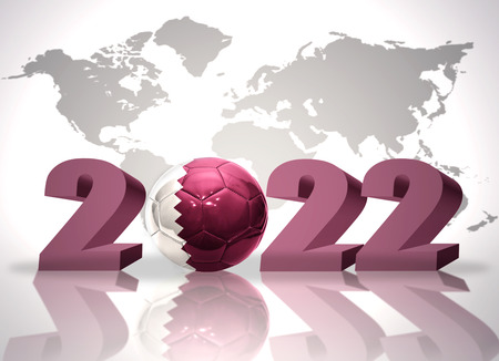 new world: number 2020 and football ball with the national flag of qatar on a world map background