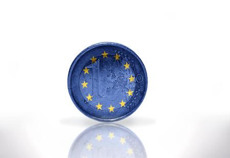 euro coin with european union flag on the white background photo