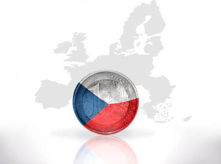 czech republic coin: euro coin with czech flag on the european union map background