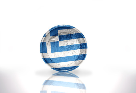 euro coin with greek flag on the white background photo