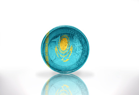 kazakh: euro coin with kazakh flag on the white background