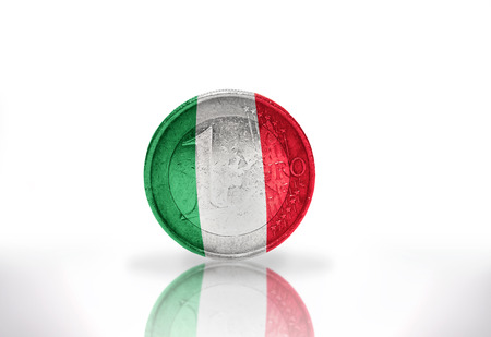 euro coin with italian flag on the white background