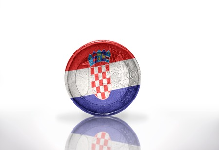 croatian: euro coin with croatian flag on the white background