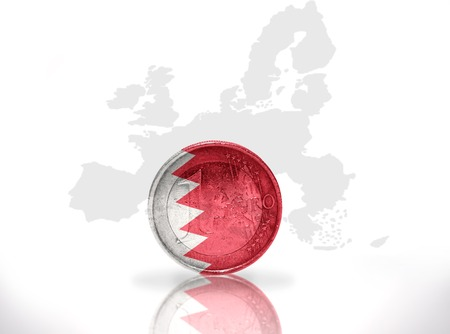 bahrain money: euro coin with bahrain flag on the european union map background Stock Photo