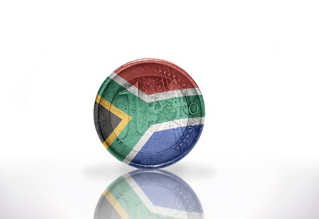 south africa flag: euro coin with south africa flag on the white background