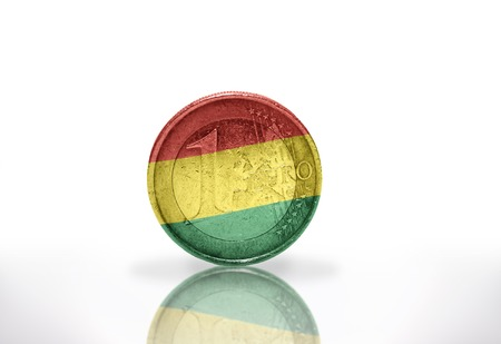 bolivian: euro coin with bolivian flag on the white background