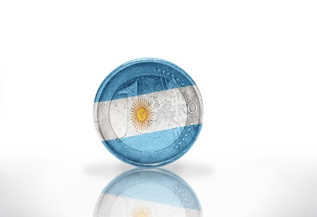 argentinean: euro coin with argentinean flag on the white background