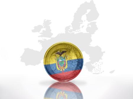 ecuadorian: euro coin with ecuadorian flag on the european union map background