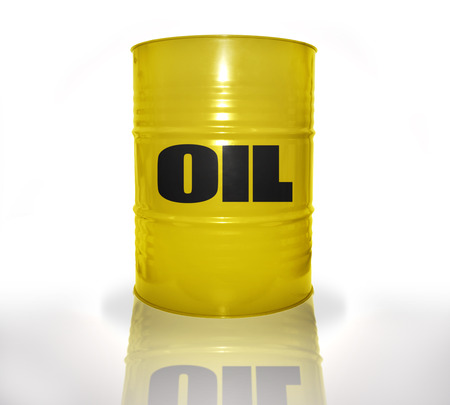 fuel provider: yellow barrel with oil on the white background Stock Photo
