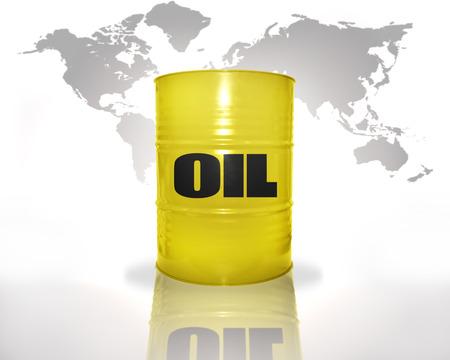 barril de petróleo: barril amarillo con aceite en el mapa del mundo de fondo