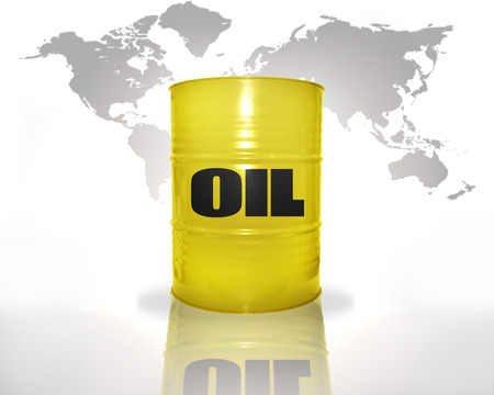 mineral oil: yellow barrel with oil on the world map background Stock Photo