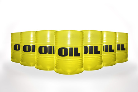 fuel provider: many yellow barrels with oil on the white background