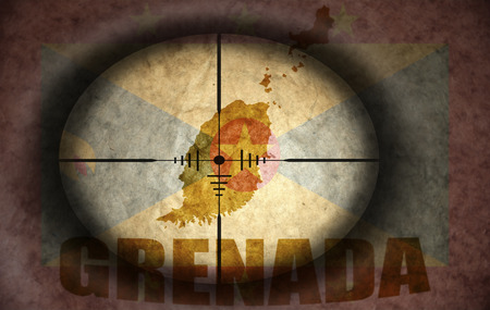 scope: sniper scope aimed at the vintage grenada flag and map