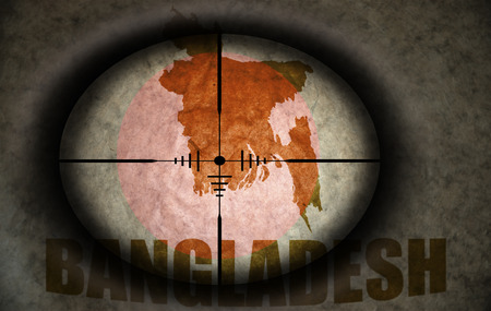 scope: sniper scope aimed at the vintage bangladesh flag and map