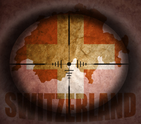 scope: sniper scope aimed at the vintage switzerland flag and map