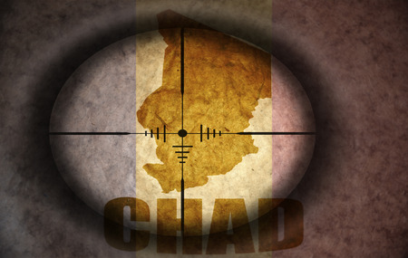 chad flag: sniper scope aimed at the vintage chad flag and map
