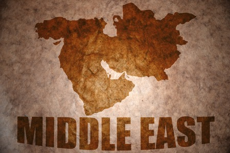 middle east map on vintage paper background Stock Photo