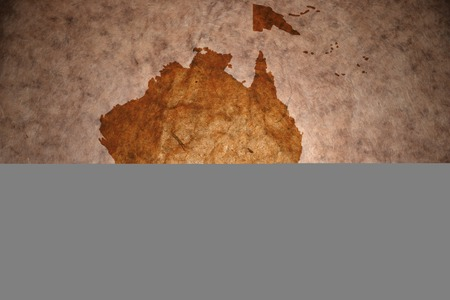 oceania map on vintage paper background Stock Photo