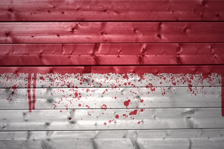 monegasque: colorful painted monaco flag on a wooden texture Stock Photo