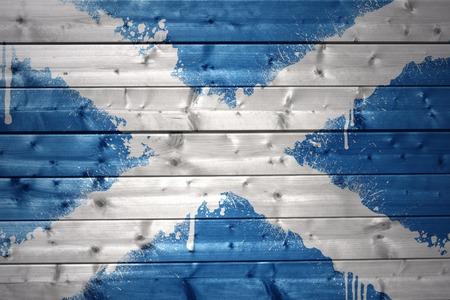 scottish flag: colorato Bandiera scozzese dipinto su una struttura di legno Archivio Fotografico