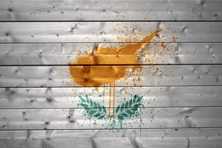 cypriot: colorful painted cypriot flag on a wooden texture Stock Photo