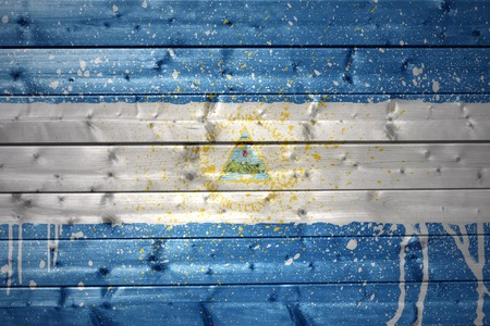 nicaraguan: colorful painted nicaraguan flag on a wooden texture