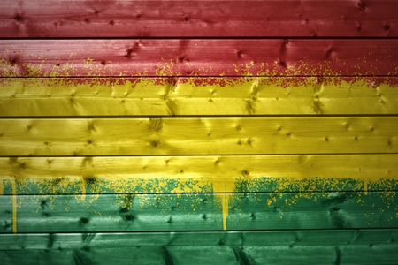 bolivian: colorful painted bolivian flag on a wooden texture