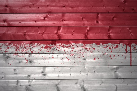 the indonesian flag: colorful painted indonesian flag on a wooden texture